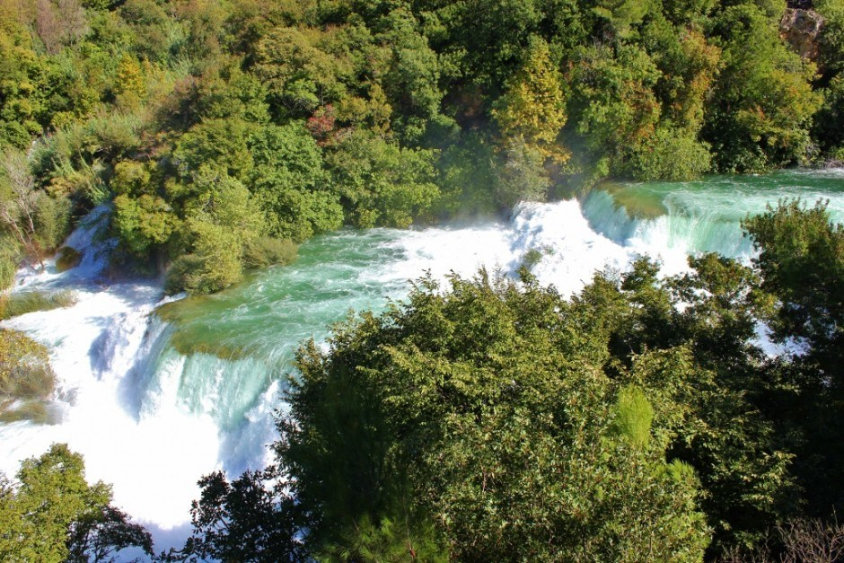 Stunning view from the top of the falls at Krka National Park