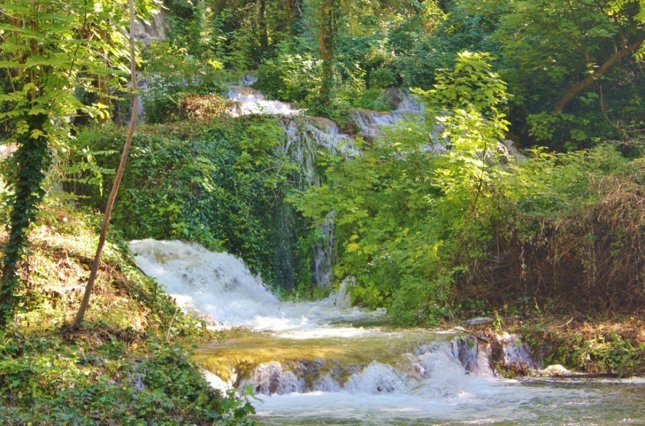 Waterfalls streamed through the forest at Krka National Park
