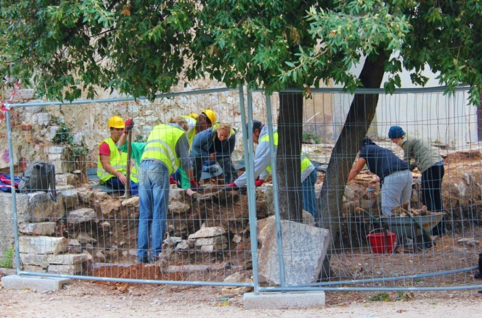 A team excavates an area close to St. Elias' Church and the remains of a Roman temple in Zadar, Croatia