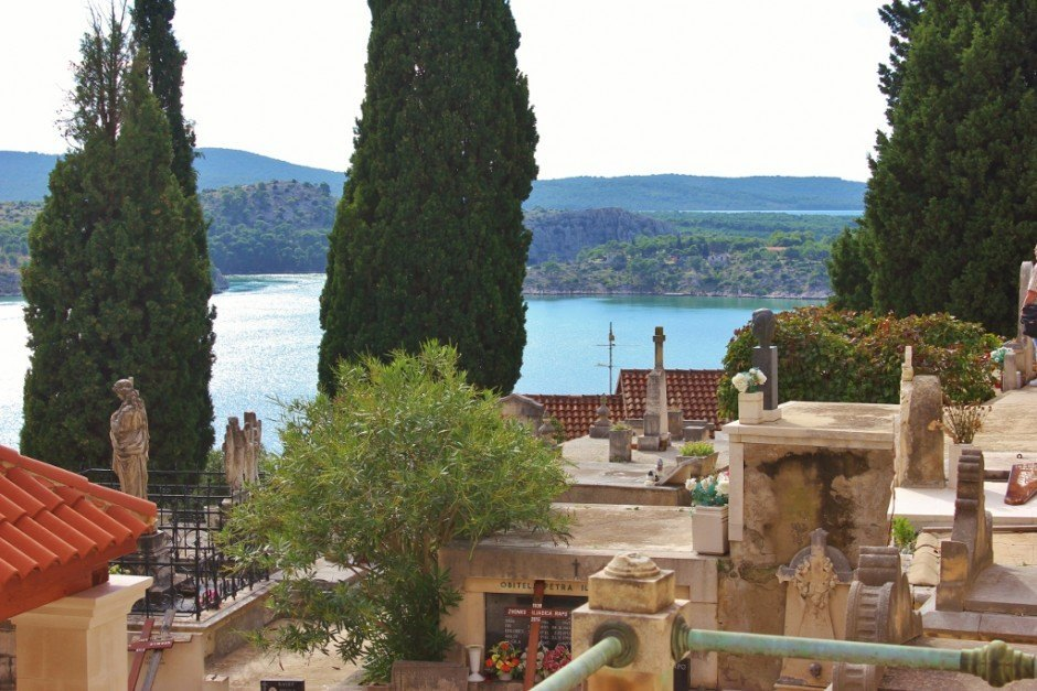 In Sibenik, St. Ana's compact cemetery offers a view of the sea
