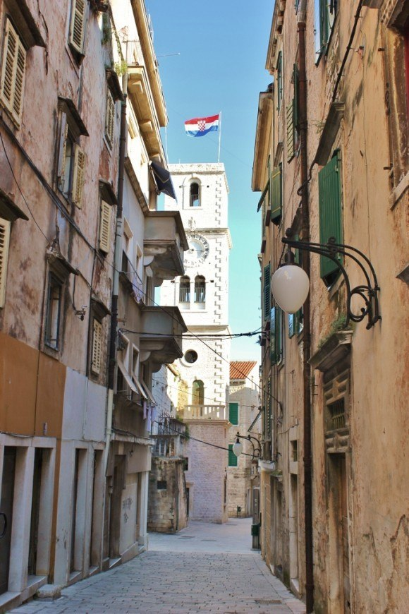 We stumbled on many bell towers and churches as we walked through the old town lanes during our day trip to Sibenik, Croatia