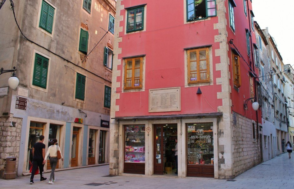 Narrow streets and narrow buildings in Sibenik, Croatia