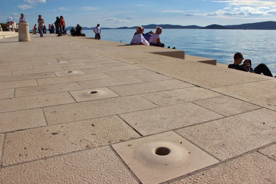The Morske orgulje (Sea Organ) in Zadar, Croatia is unique in that the sea is the organist, creating chords of music with the movement of the sea