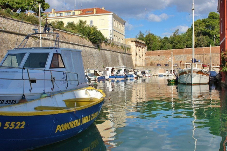 The small Fosa Marina near the Land Gate in Zadar, Croatia