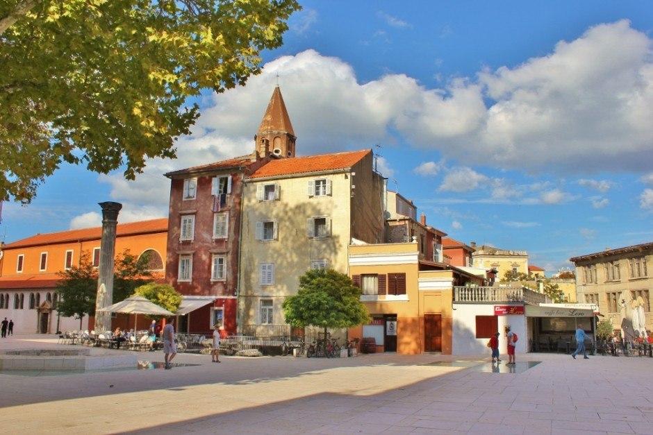 Trg Petra Zoranica (Petar Zoranica Square), in Zadar, Croatia, features Roman ruins