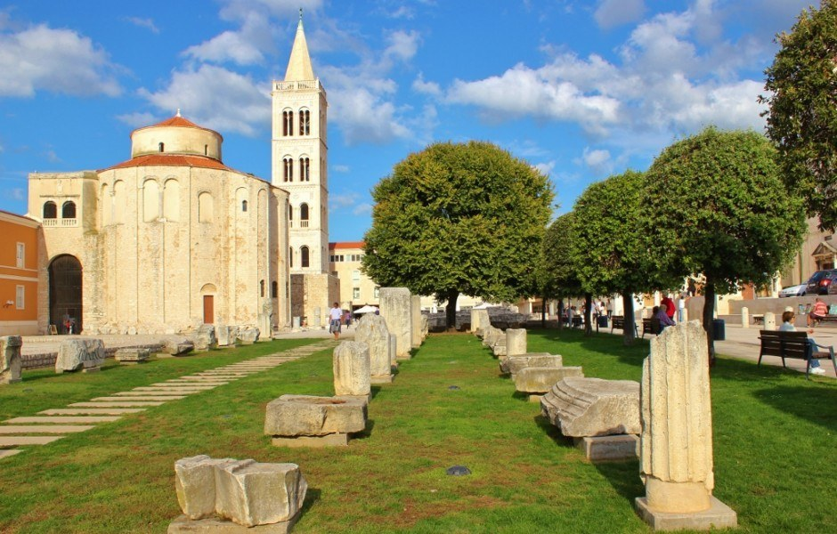 Pieces of Roman Ruins remain in the Forum in Zadar, Croatia