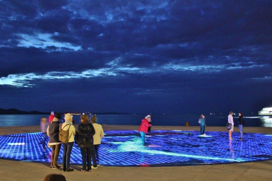 The modern art installment, Pozdrav Suncu (Greeting to the Sun), in Zadar, Croatia attracts visitors and locals to its after-dark light show