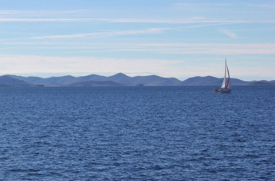 A lone sailboat on the Adriatic Sea during our boat trip from Zadar to Dugi Otok