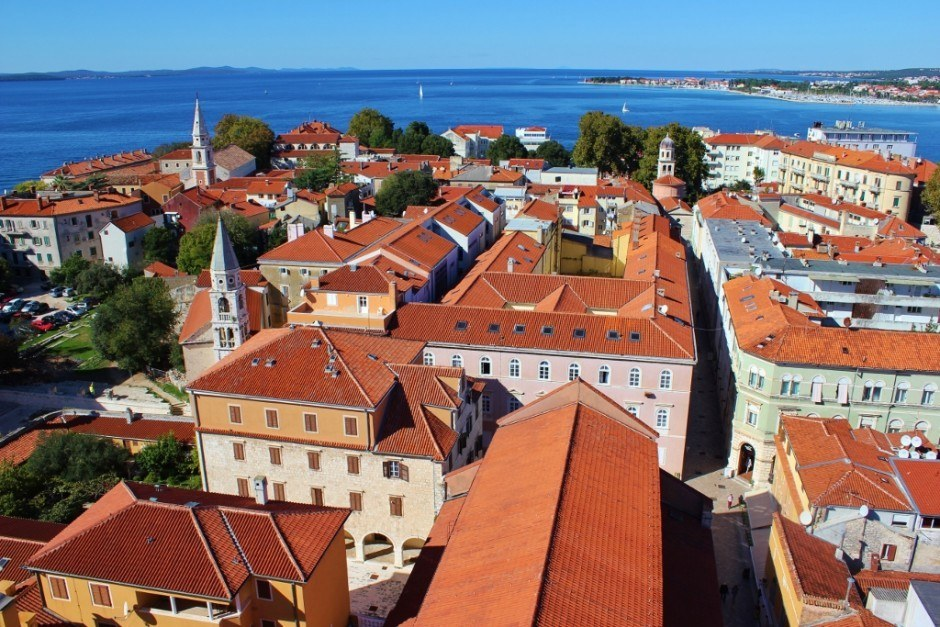 A view over Zadar, Croatia from the top of the bell tower