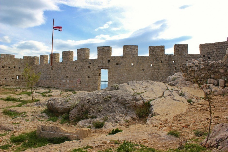 The inside of Starigrad Fortress in Omis, Croatia