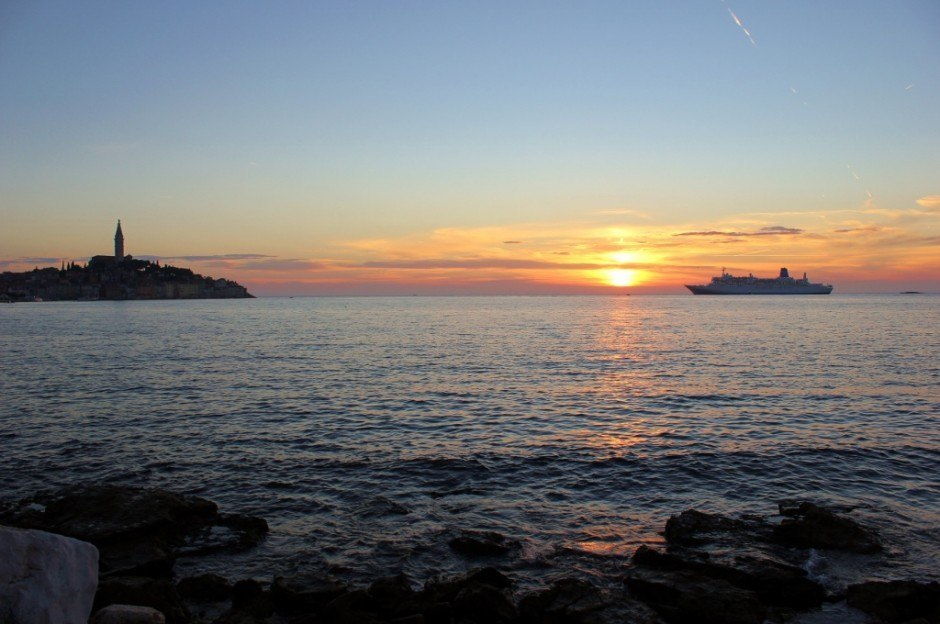 For a more seculded spot to watch sunsets in Rovinj, Croatia, we walked to the mainland and took it in from afar