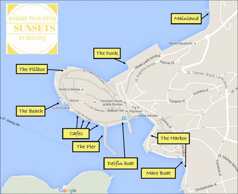 Map Where to Watch Sunsets in Rovinj, Croatia