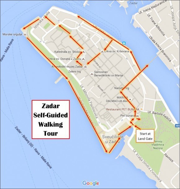 Zadar Self Guided Walking Tour Map