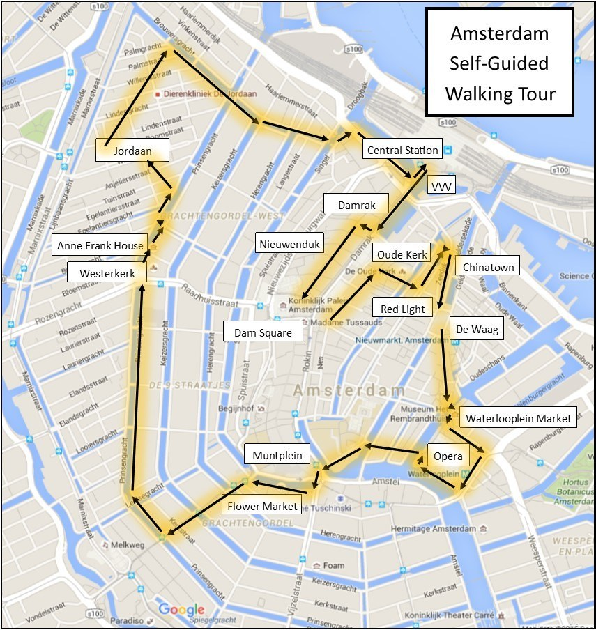 One day in Amsterdam selfguided walking tour 15 sights to see – Amsterdam City Centre Map Tourist