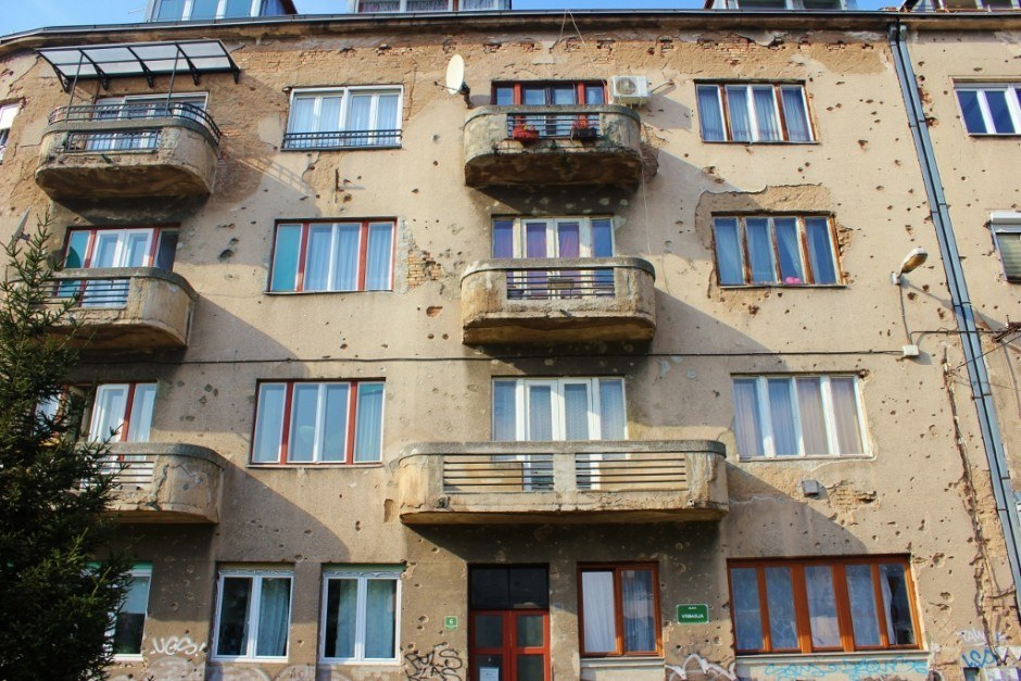 20 years after the Siege of Sarajevo there are still buildings with visible bullet holes