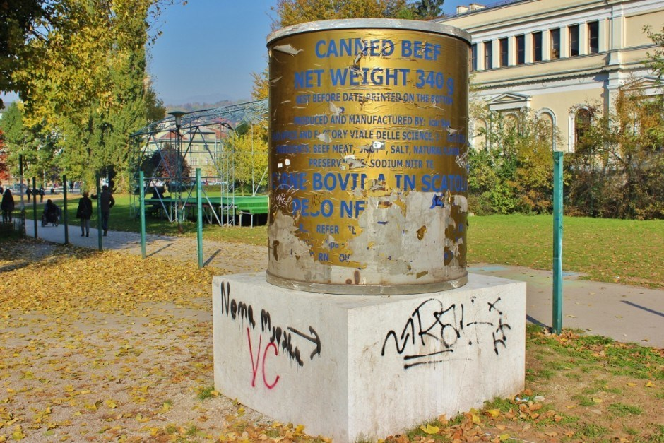 20 years after the Siege of Sarajevo a cheeky, post-war art installment modeled after the canned meat residents ate during the war is vandalized