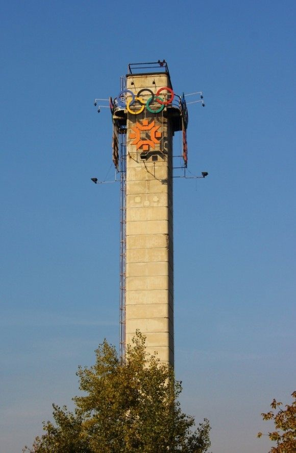 A tower bearing the Olympic Rings still stands in Sarajevo from the 1984 Winter Olympics
