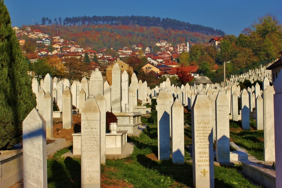 20 years after the Siege of Sarajevo most of the markers in the graveyard bear deceased dates in the early 1990s