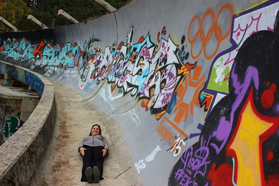 The abandoned Olympic bobsled track in Sarajevo is covered in graffiti and open for people to pretend to be bobsledders