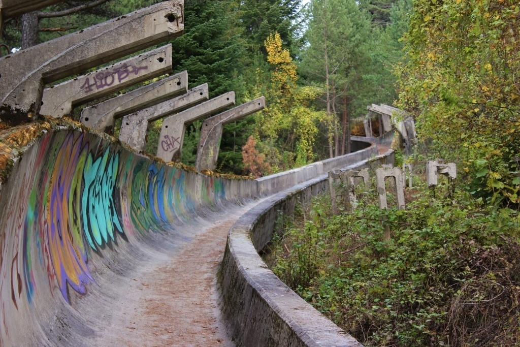 Abandoned Olympic bobsled track in Sarajevo