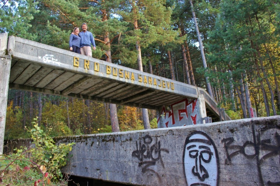 What remains of the finish line on the abandoned Olympic bobsled track in Sarajevo