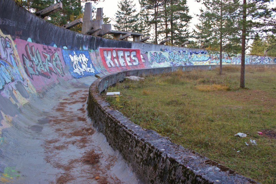 Coming into the final turn on the abandoned Olympic bobsled track in Sarajevo
