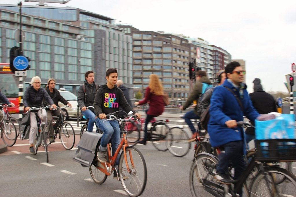 Busy bike traffic in Amsterdam, Netherlands