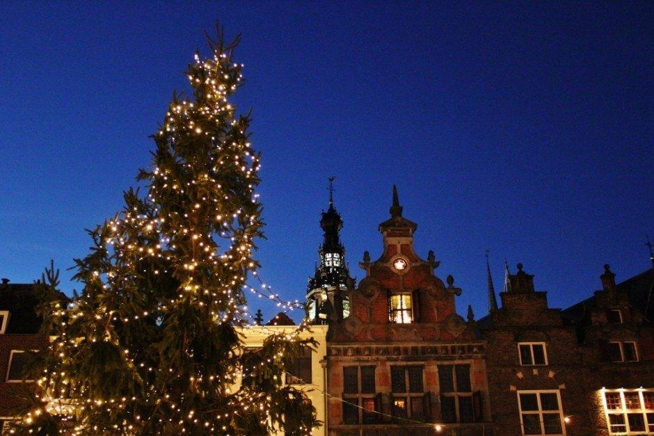 Christmas Markets near Nijmegen Netherlands Nijmegen Grote Market Tree and Bell Tower