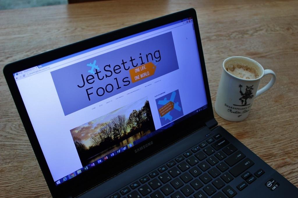 JetSettingFools.com Blog computer with coffee