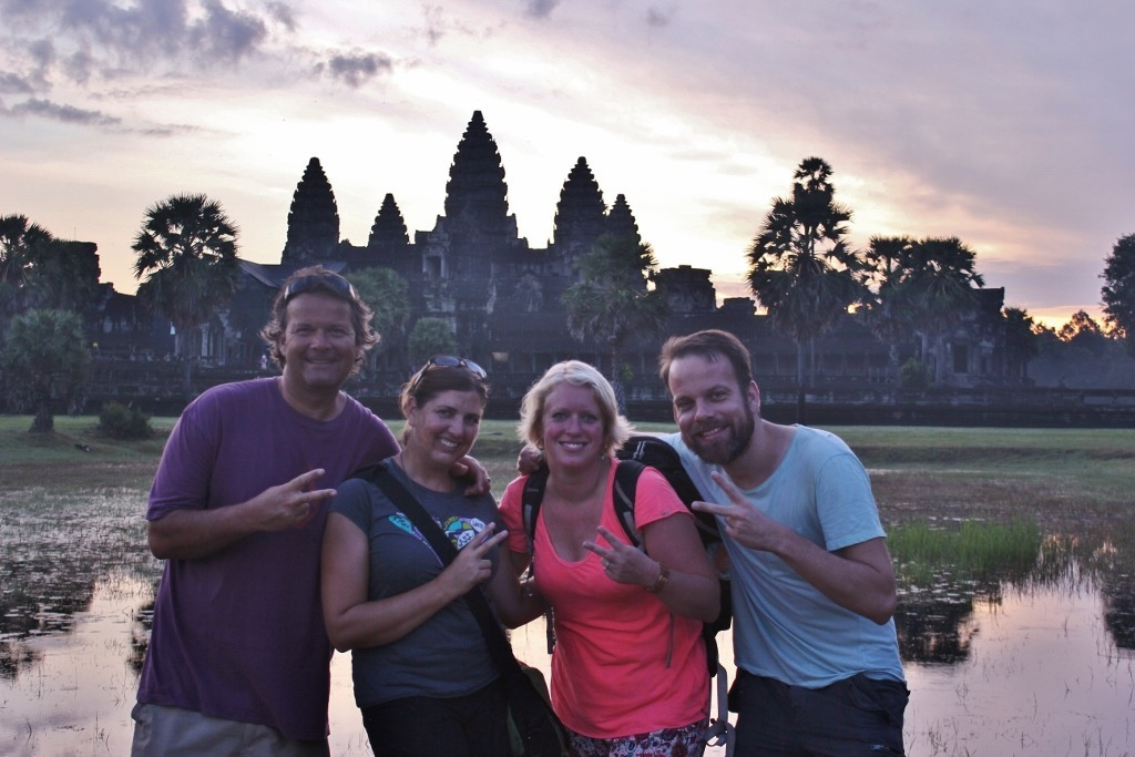 Our interconnected world meeting friends at Angkor Wat sunrise