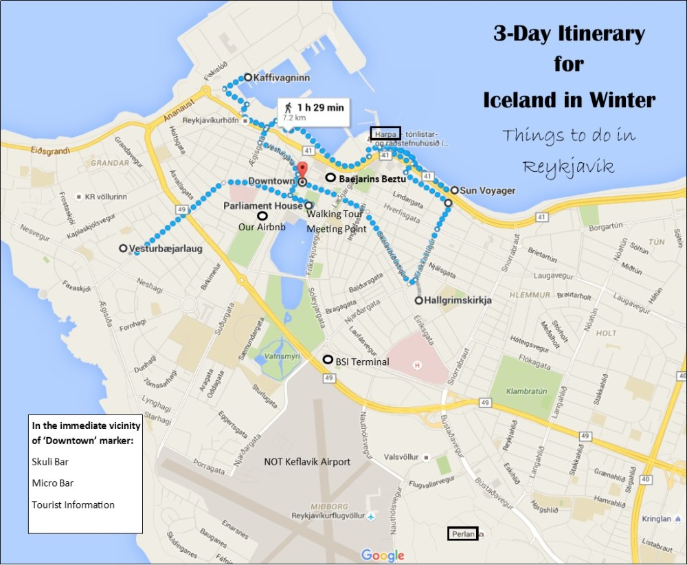 3day itinerary for Iceland In Winter Jetsetting Fools – Tourist Map Of Reykjavik