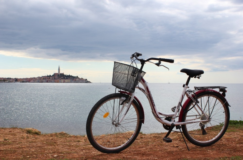 Bicycle on shore near Rovinj, Croatia