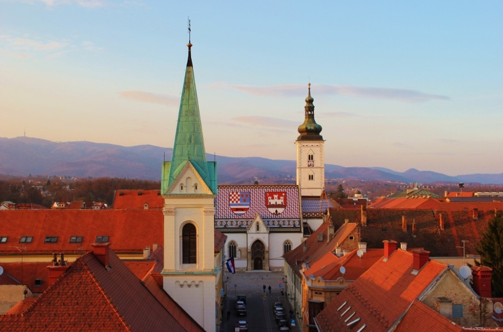 St. Mark's Church colorful roof and steeple in Zagreb, Croatia