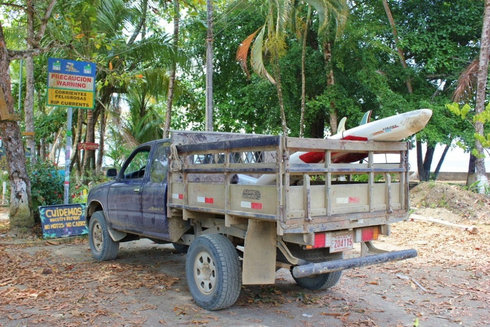 Pavones, Costa Rica Surfboard in truck JetSetting Fools