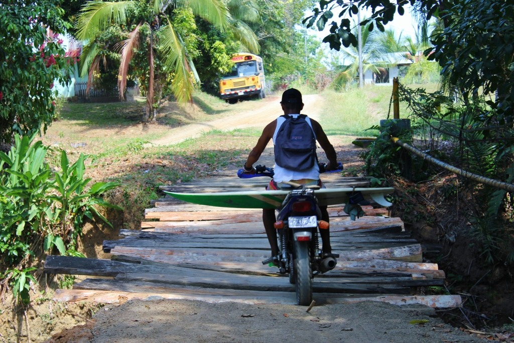 Pavones, Costa Rica Surfboard on Scooter JetSetting Fools