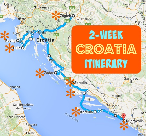 Two Week Croatia Itinerary Map JetSetting Fools