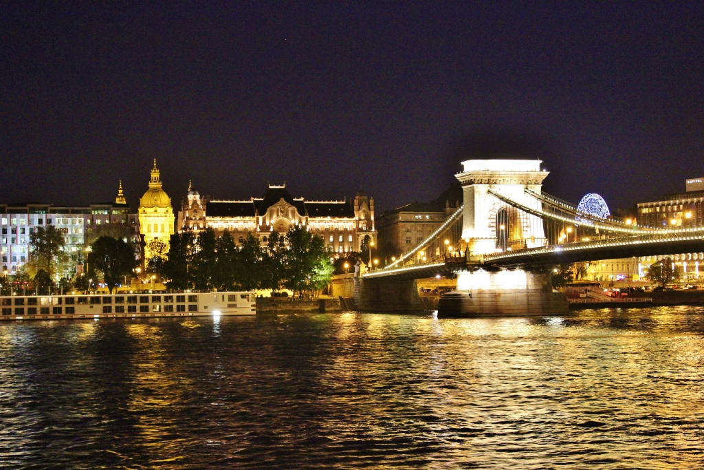Budapest, Hungary Chain Bridge and St. Istvan's Basilica at night JetSettingFools.com