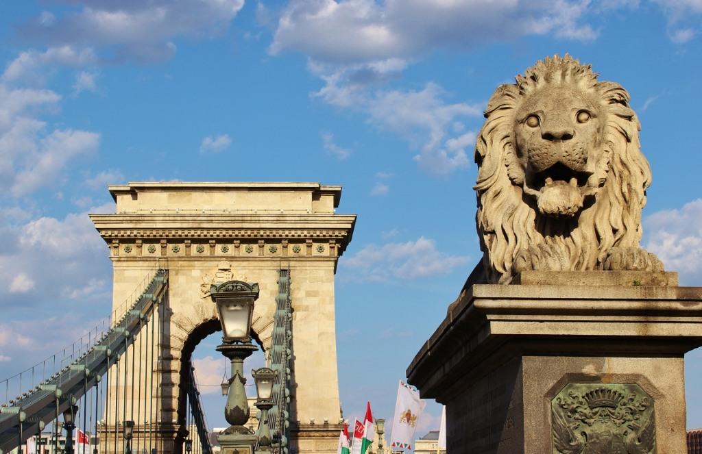 Budapest, Hungary Chain Bridge Lion Statue JetSettingFools.com
