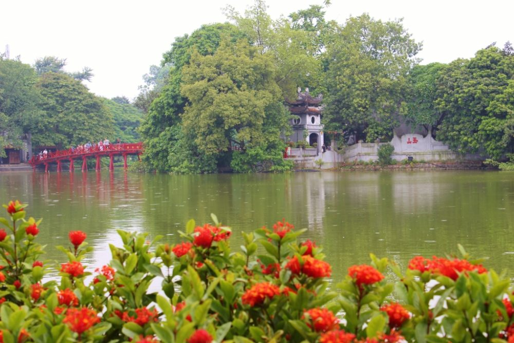 Visit the Ngoc Son Temple on Hoan Kiem Lake in Hanoi as part of our 2-week Vietnam Itinerary