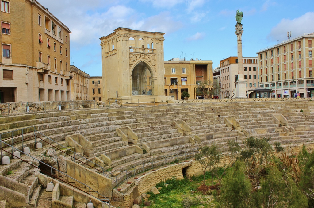 The Roman Amphitheater on Sant'Oronzo Square in Lecce, Italy