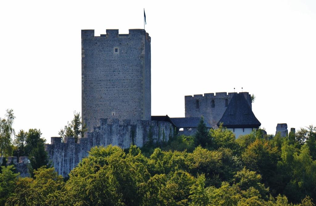 Celje Castle view from Gostilna Kmetec patio, Celje, Slovenia