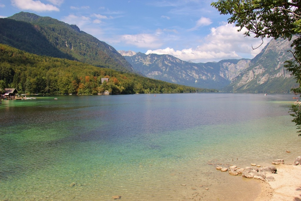 Shades of blue water at Lake Bohinj, Slovenia
