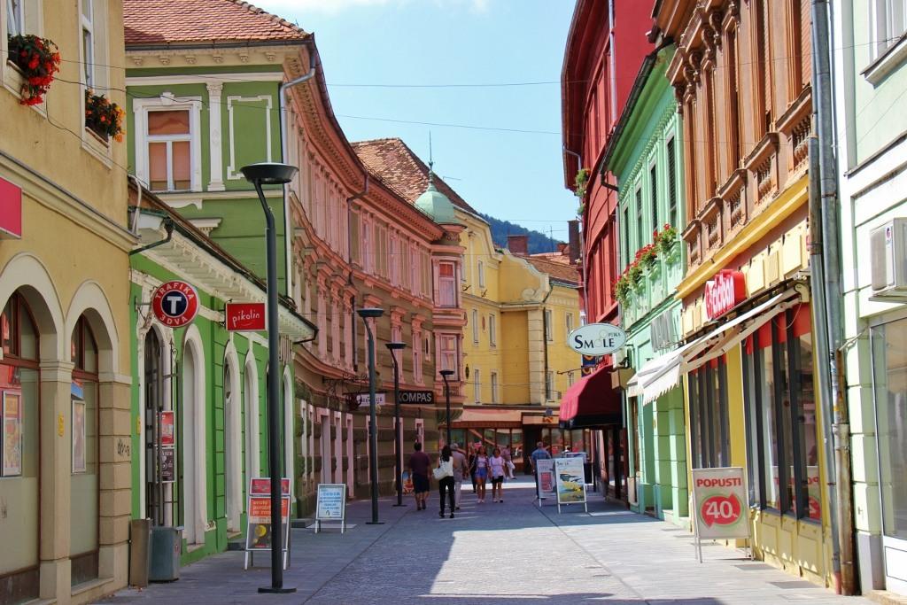 Colorful buildings on Presernova Ulica, Celje, Slovenia