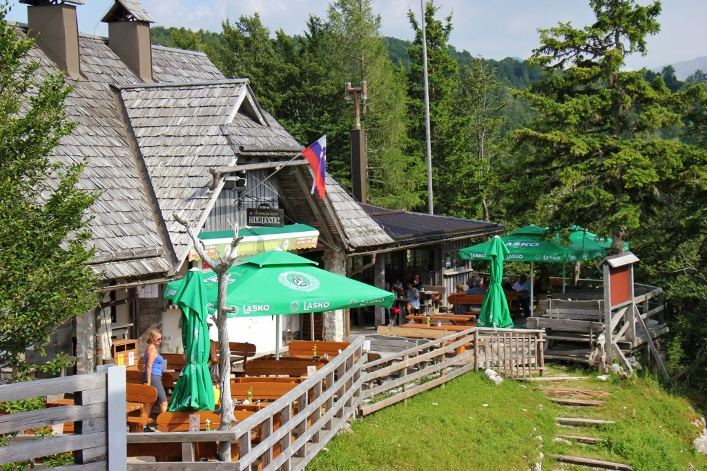 Outdoor patio and restaurant near Vogel Ski Center in Lake Bohinj, Slovenia