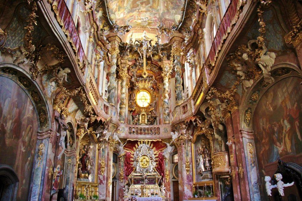 Sightseeing on a Layover in Munich Inside Asamkirche St. Johann Nepomuk Church JetSettingFools.com