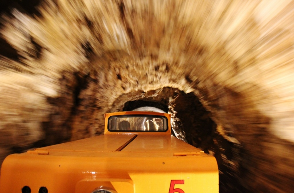 Train ride inside cave at Postojna Cave, Slovenia