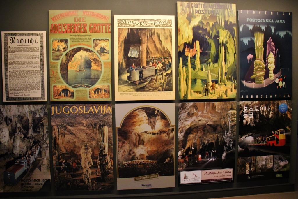 Vintage Posters advertise Postojna Caves, Slovenia