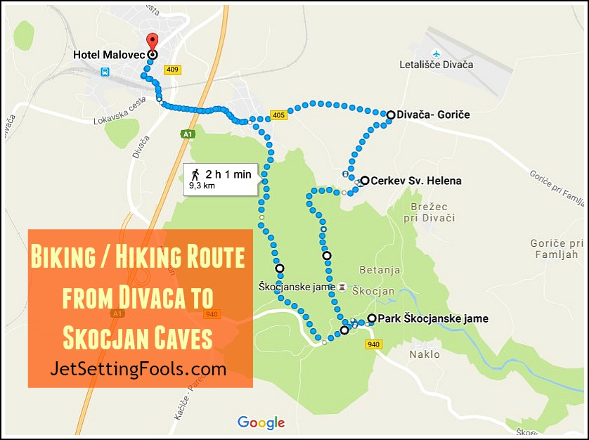 divaca-to-skocjan-caves-biking-hiking-route-map