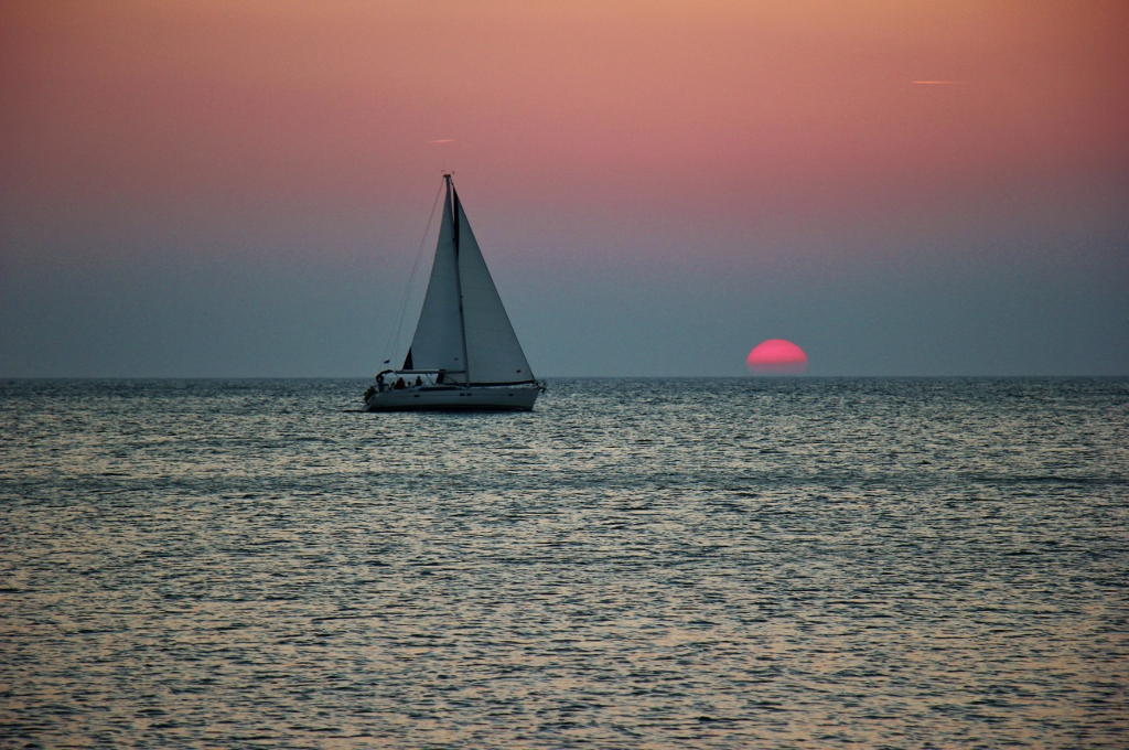 Sailing into the sunset from Piran, Slovenia