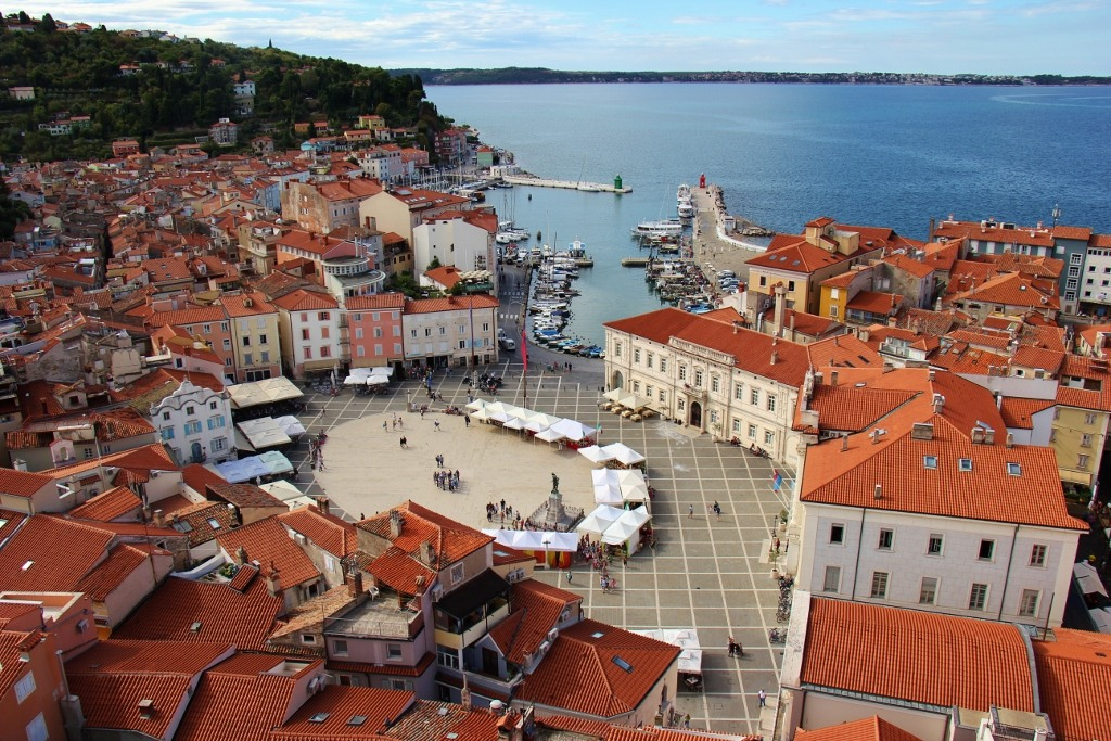Tartini Square and Harbor viewed from St. George's Bell Tower, Piran, Slovenia